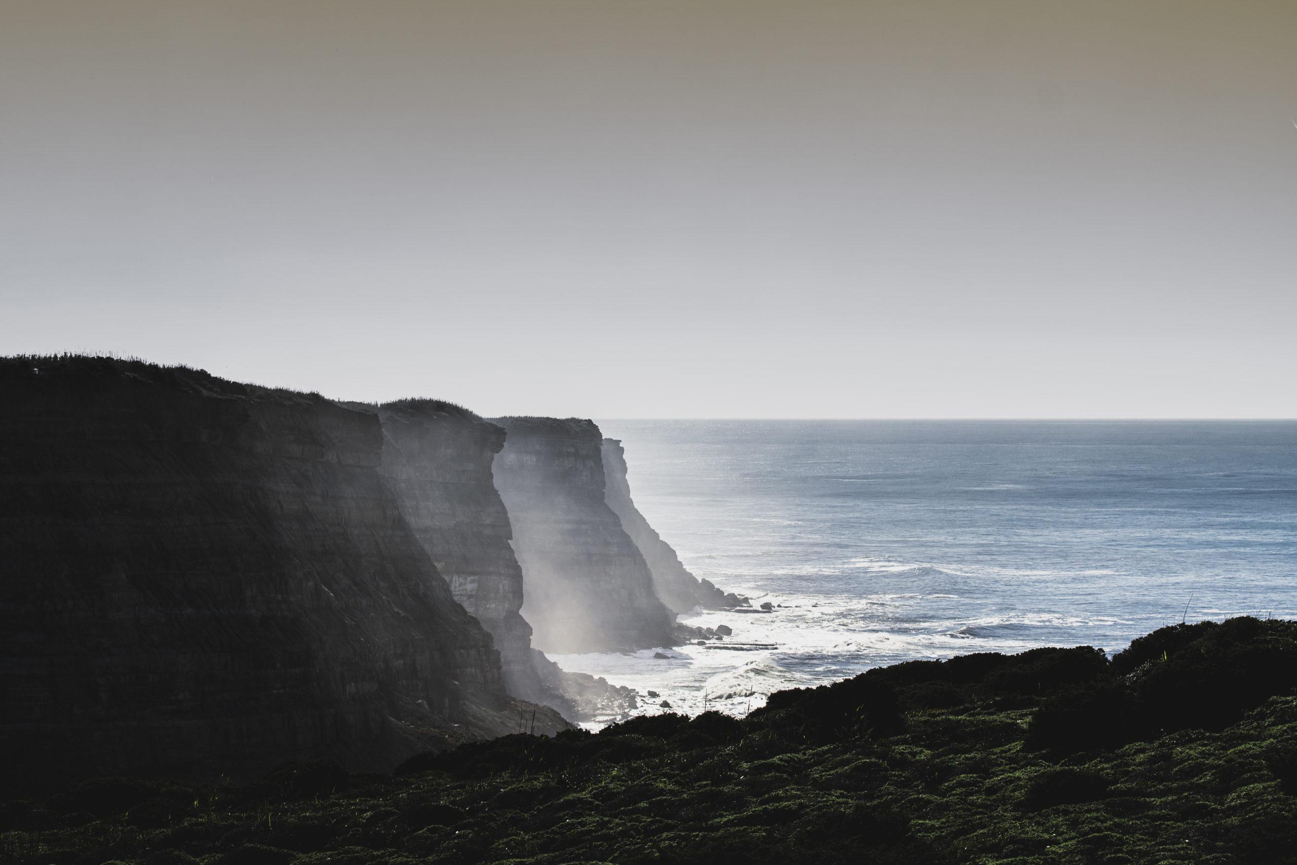 Hippy Cream Slide Portugal Cliffs on Winter